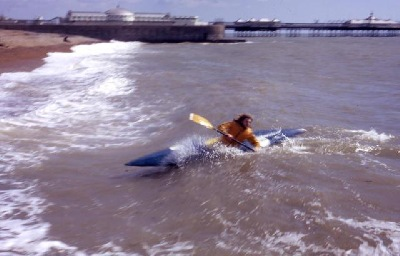 Nigel Foster surfs his Funa kayak, Brighton Beach