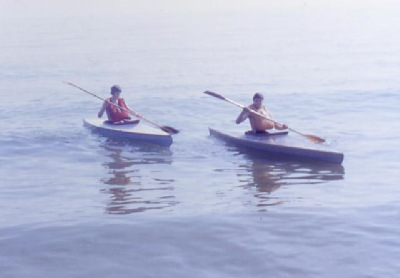 nigel and his brother in their first kayaks